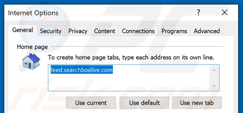 Removing feed.searchboxlive.com from Internet Explorer homepage