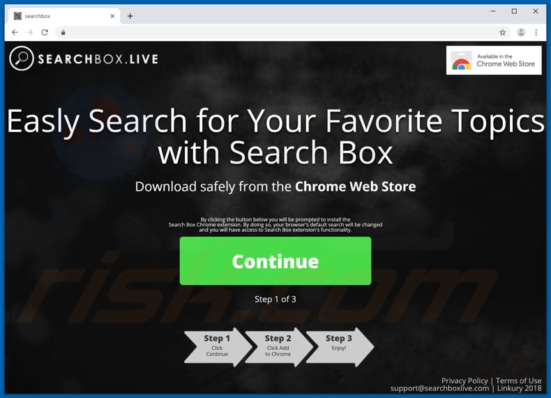 Website used to promote SearchBox browser hijacker