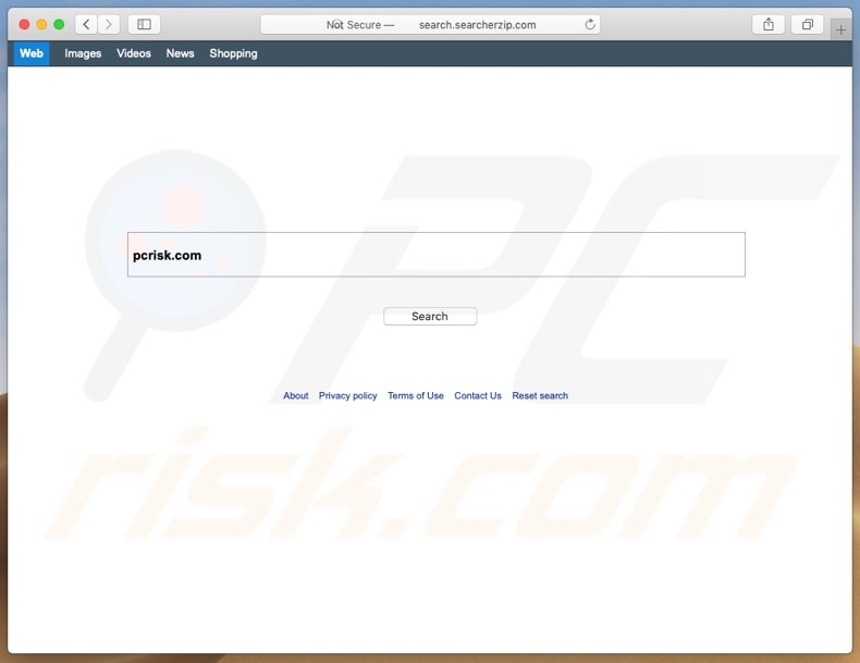 Search.searcherzip.com browser hijacker on a Mac computer