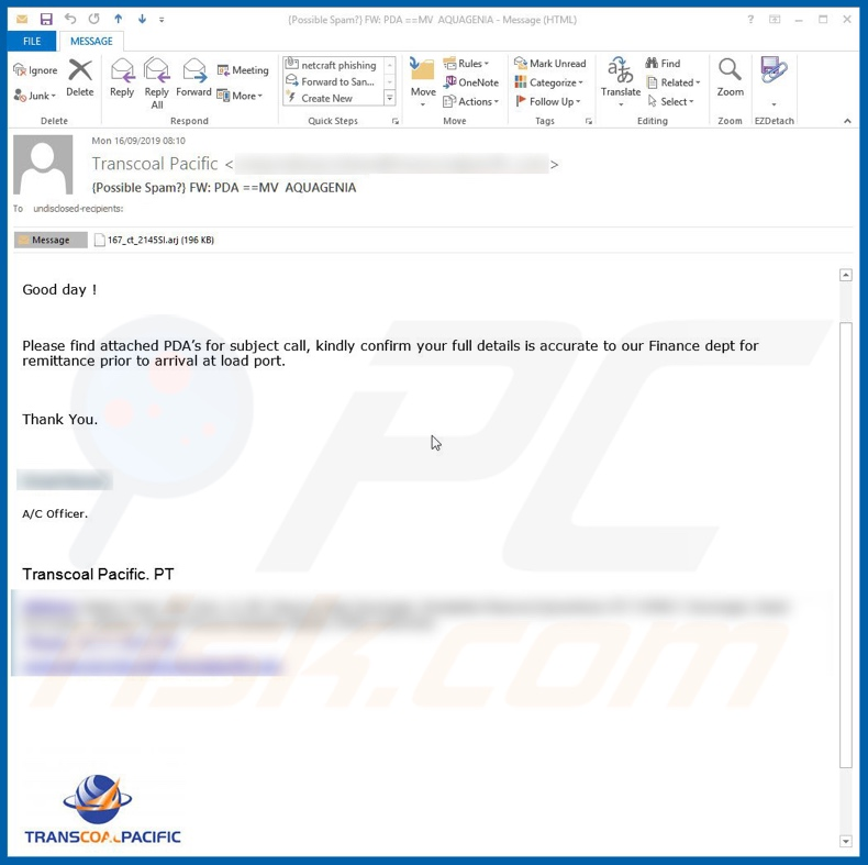 Transcoal Pacific Email Virus