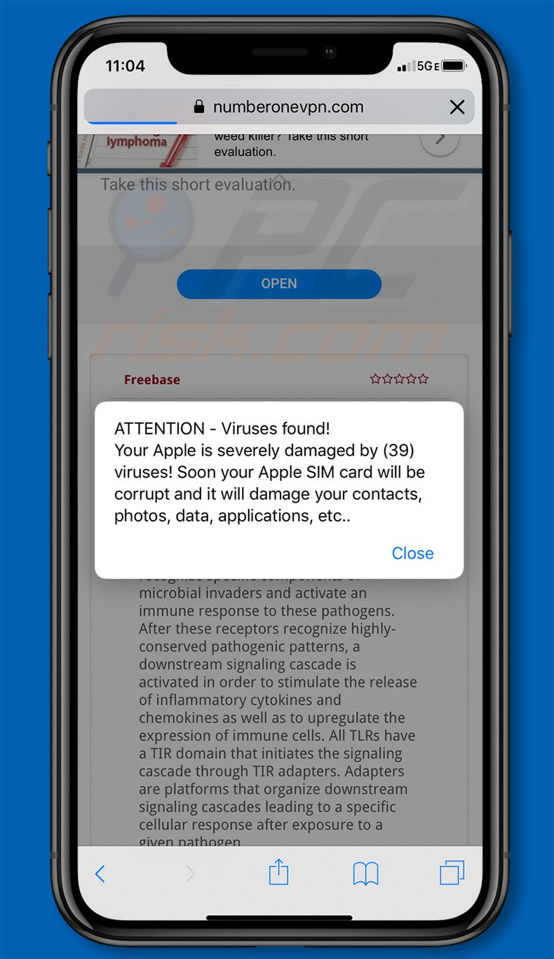Your Apple iPhone Is Infected By (17) Viruses on an iPhone (sample 2)