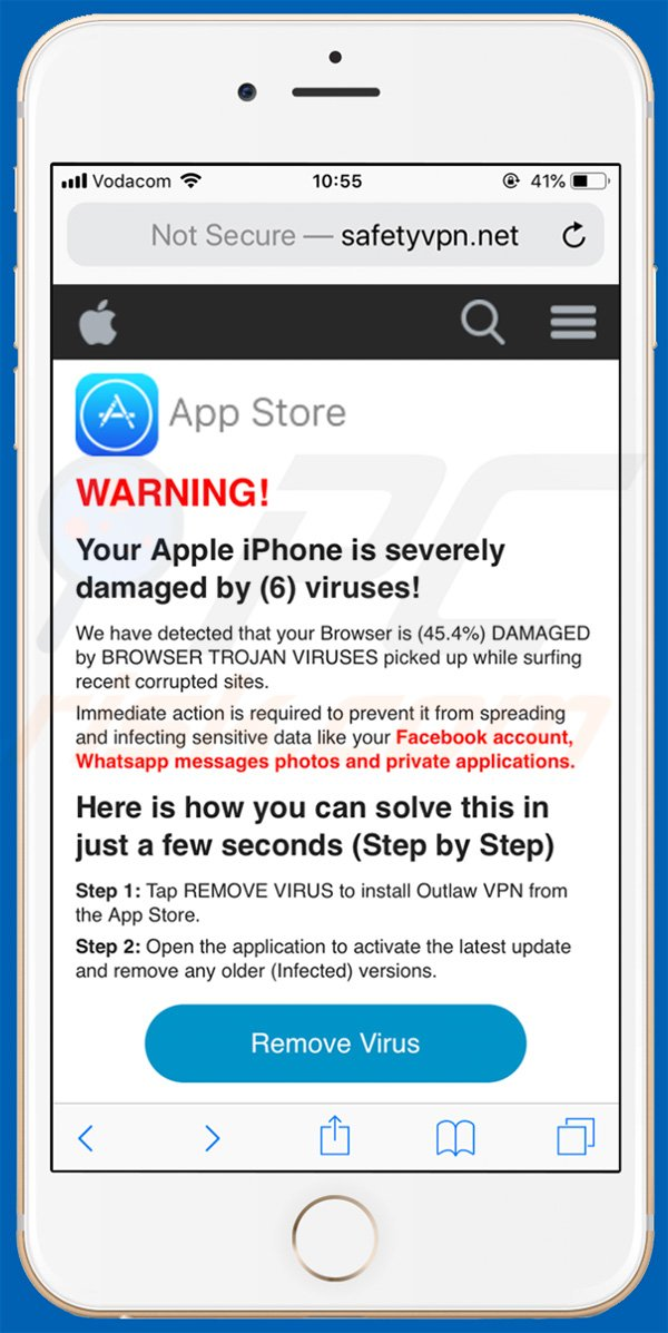 Your Apple iPhone Is Severely Damaged pop-up scam in iPhone