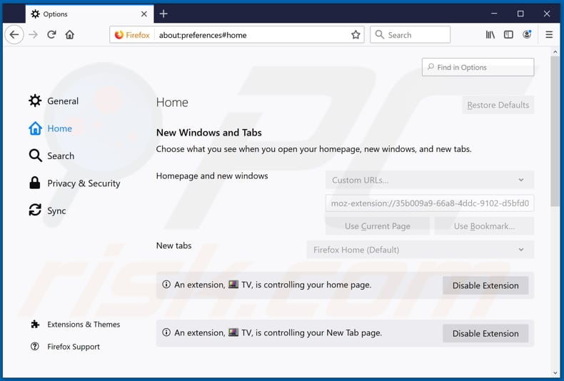 Removing search.hyourstreamingtvnow2.com from Mozilla Firefox homepage