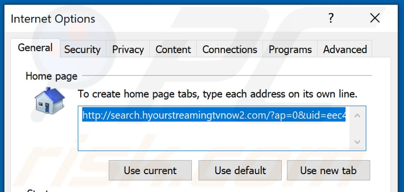 Removing search.hyourstreamingtvnow2.com from Internet Explorer homepage