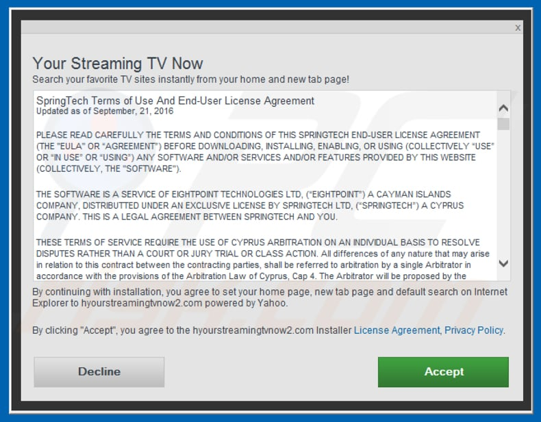 Official Your Streaming TV Now browser hijacker installation setup