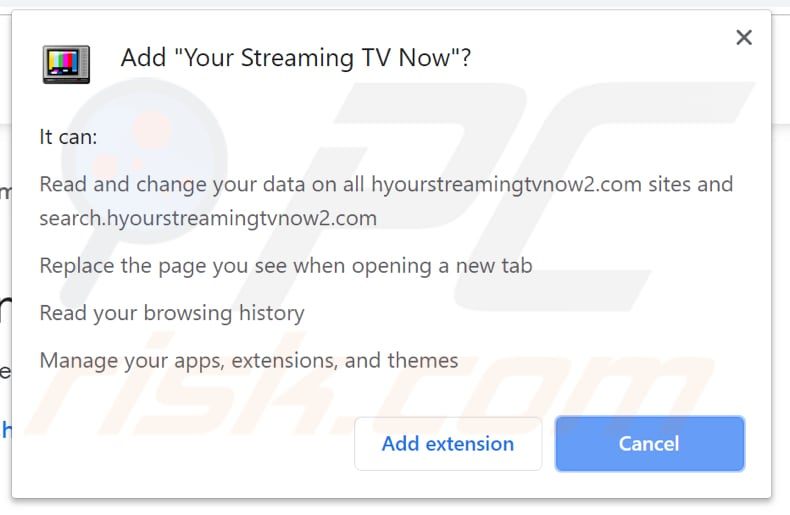 Your Streaming TV Now download site asks for permissions