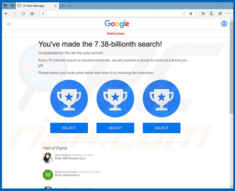 You've made the 7.38-billionth search! scam