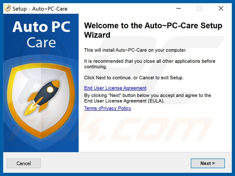Auto PC Care installation setup