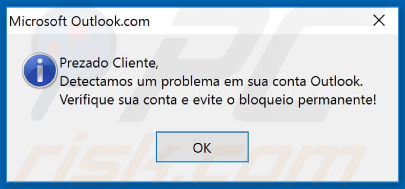 casbaneiro fake outlook pop-up