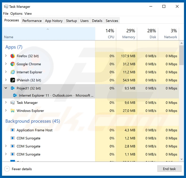 casbaneiro fake outlook process in task manager