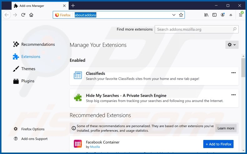 Removing search.hclassifiedslist1.com related Mozilla Firefox extensions
