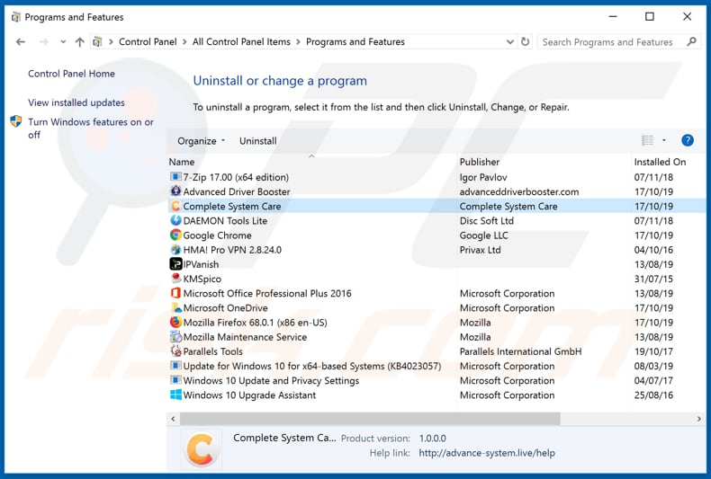 Complete System Care adware uninstall via Control Panel