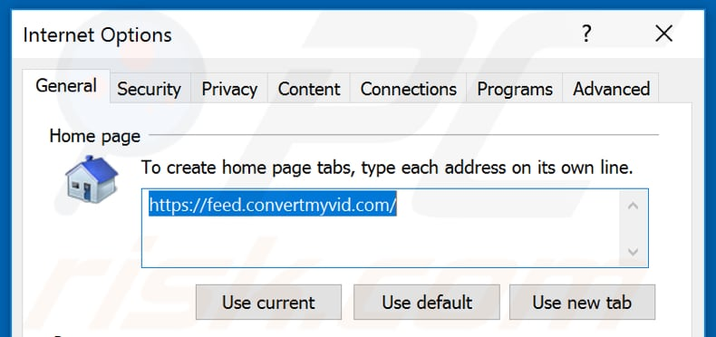 Removing feed.convertmyvid.com from Internet Explorer homepage