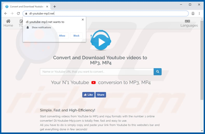 dl-youtube-mp3[.]net pop-up redirects