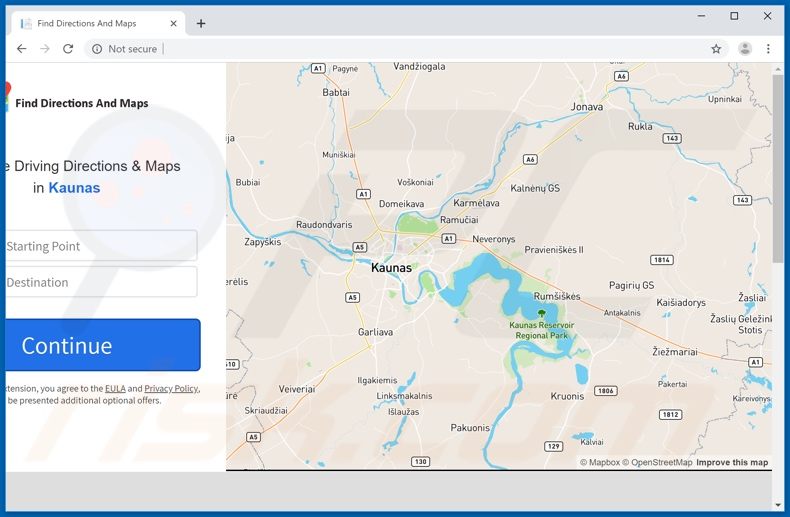 Website used to promote Easy & Quick Maps browser hijacker