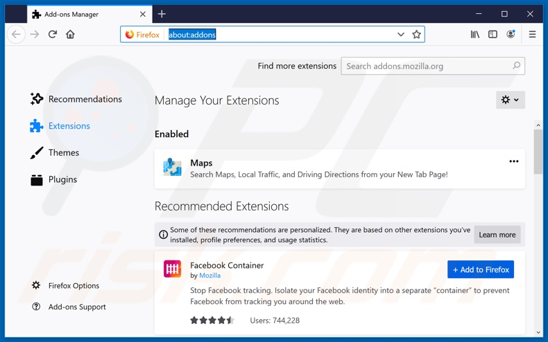 Removing search.hfindmydirections.net related Mozilla Firefox extensions