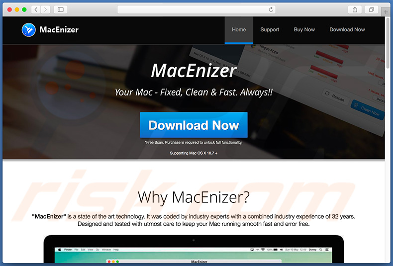 Website promoting second variant of MacEnizer unwanted application