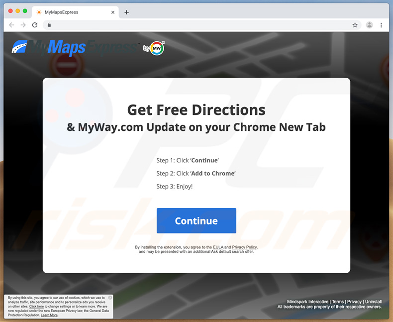 Website used to promote MyMapsExpress for Mac users