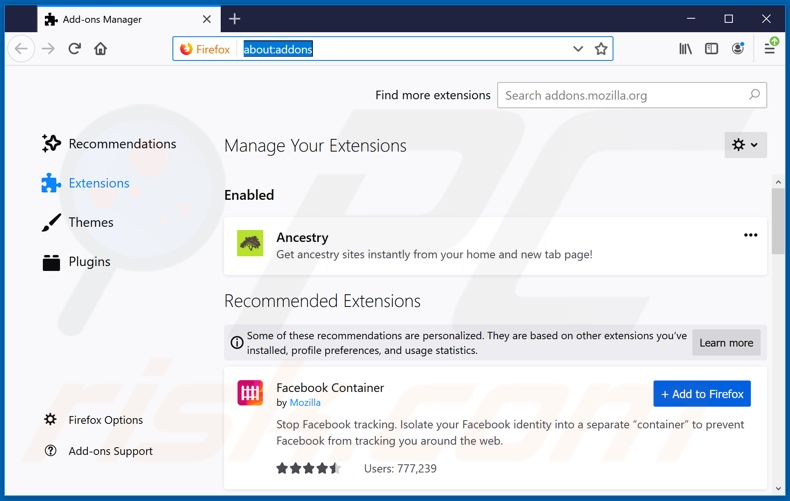 Removing search.searchobituariestab.com related Mozilla Firefox extensions