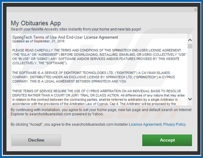 Official My Obituares App browser hijacker installation setup