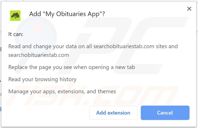 My Obituares App asking for permissions