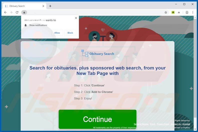 Website used to promote Obituary Search browser hijacker
