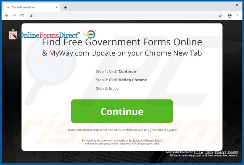 Website used to promote OnlineFormsDirect browser hijacker
