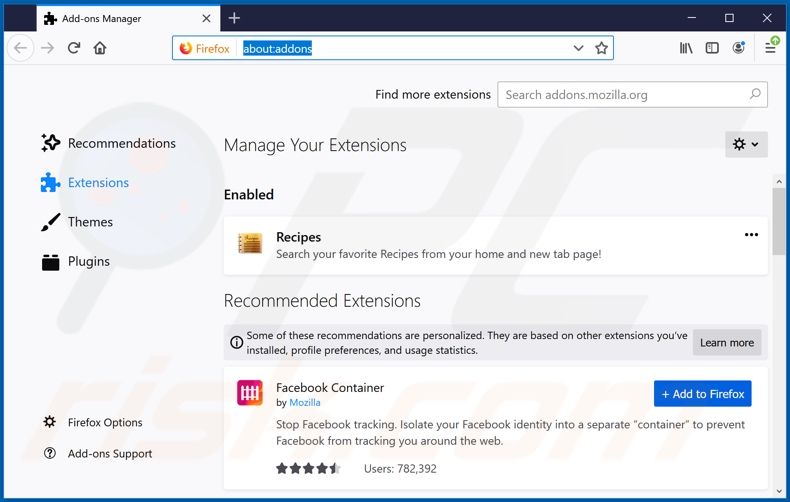 Removing search.viewfreerecipestab.com related Mozilla Firefox extensions