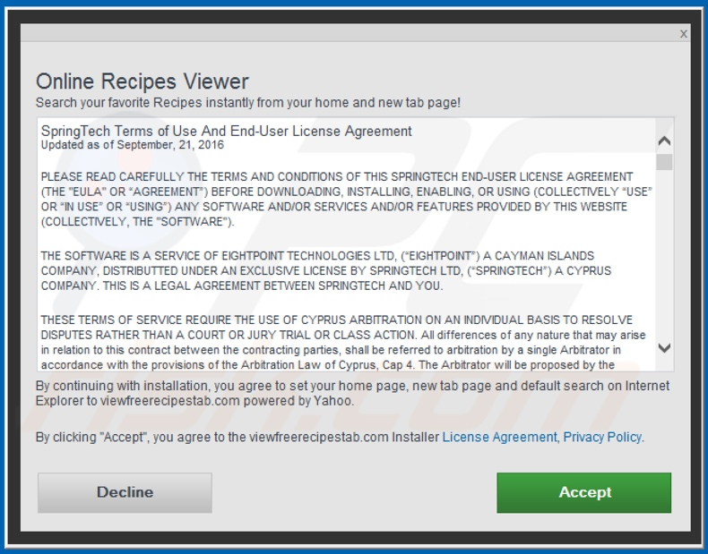 Official Online Recipes Viewer browser hijacker installation setup