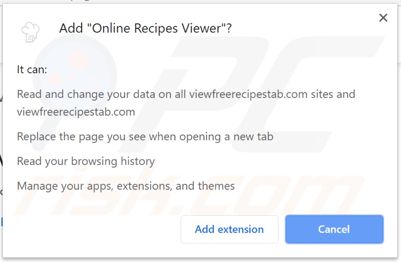 Online Recipes Viewer asking for permissions