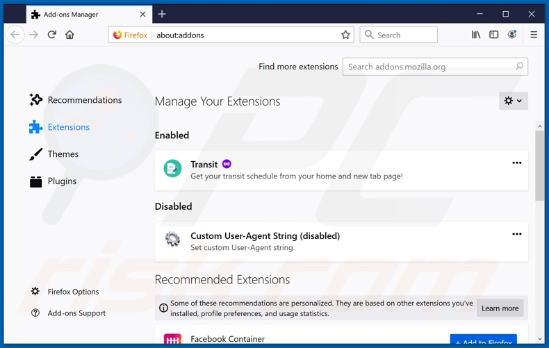 Removing search.parcelfindertab.com related Mozilla Firefox extensions