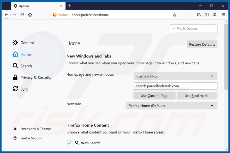 Removing search.parcelfindertab.com from Mozilla Firefox homepage