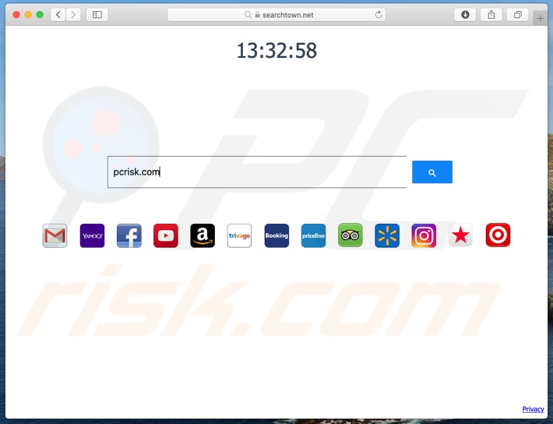 searchtown.net browser hijacker on a Mac computer