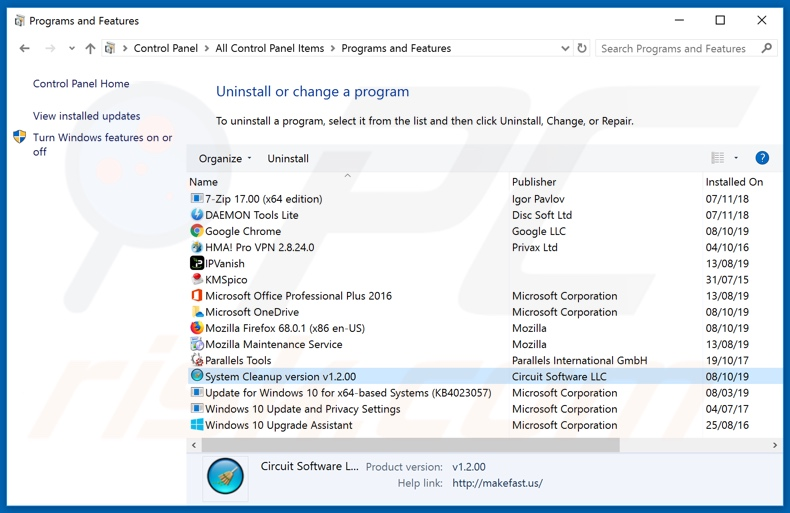 System Cleanup adware uninstall via Control Panel