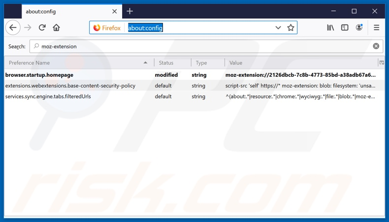 Removing search.tastyonlinerecipestab.com from Mozilla Firefox default search engine