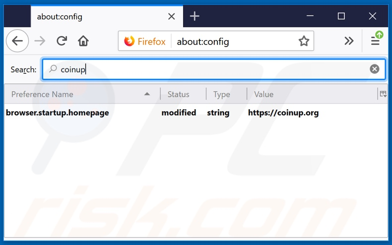 Removing coinup.org from Mozilla Firefox default search engine