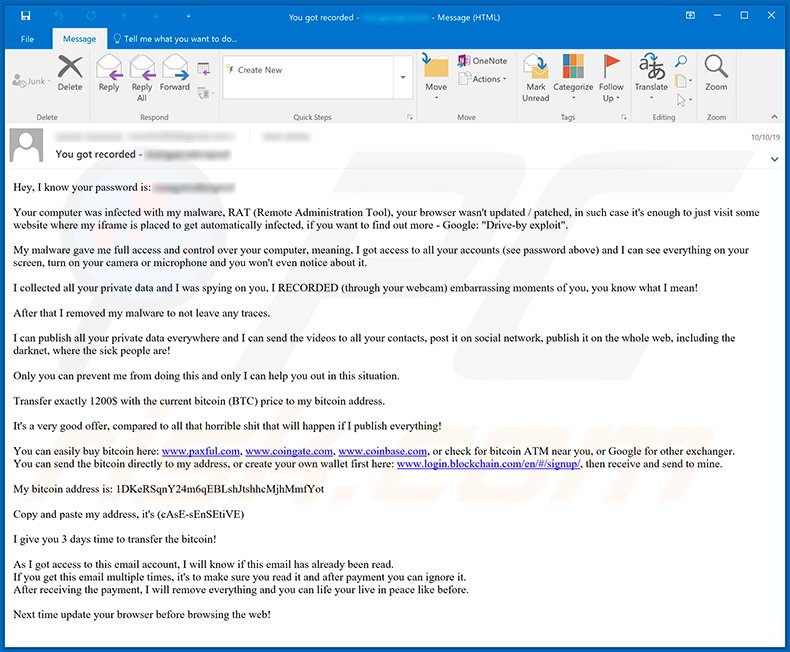 Your computer was infected with my malware email scam