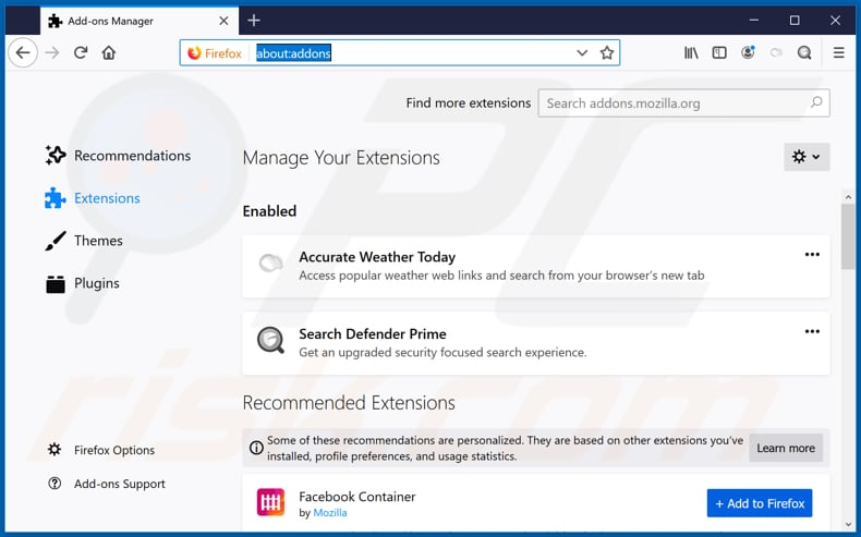 Removing accurateweathertoday.com related Mozilla Firefox extensions