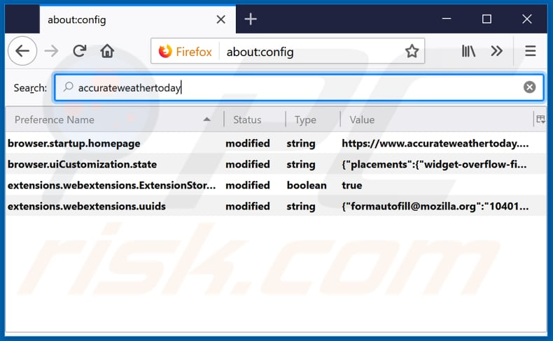 Removing accurateweathertoday.com from Mozilla Firefox default search engine