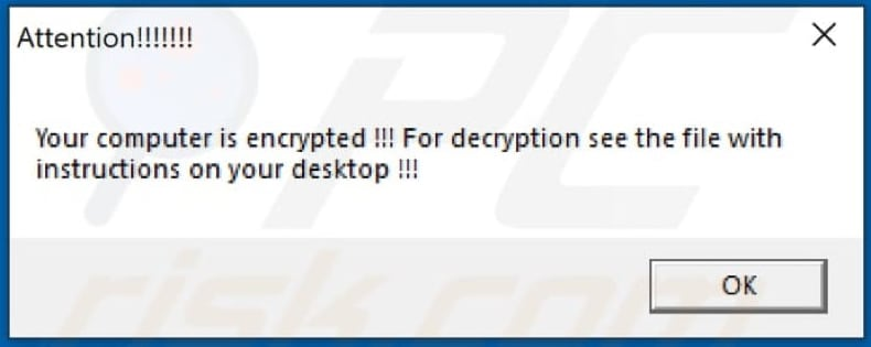 Pop-up displayed after ANTEFRIGUS ransomware is done encrypting