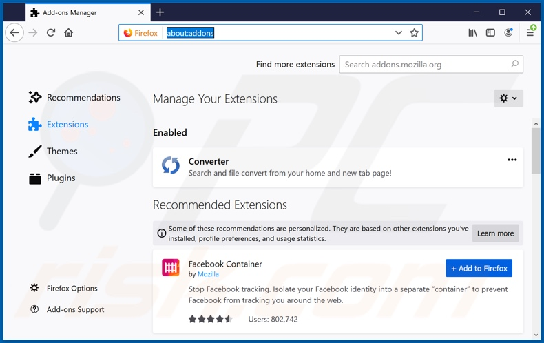 Removing search.betterconverterprotab.com related Mozilla Firefox extensions