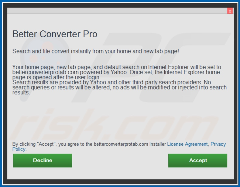 Official Better Converter Pro browser hijacker installation setup