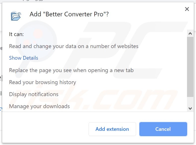 Better Converter Pro asking for permissions