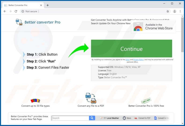 Website used to promote Better Converter Pro browser hijacker