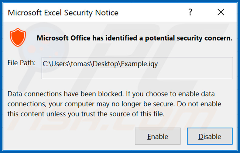 Buran ransomware Microsoft Excel Security Notice window
