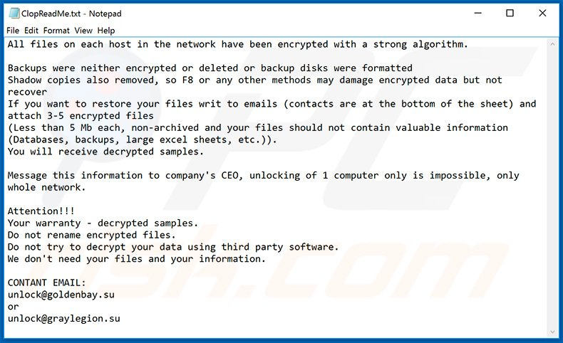 Updated Clop ransomware ransom note