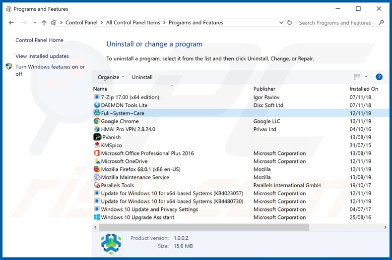 Full System Care adware uninstall via Control Panel