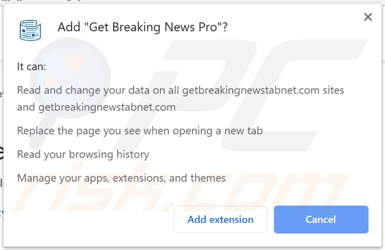 Get Breaking News asks for a permission to change and read data