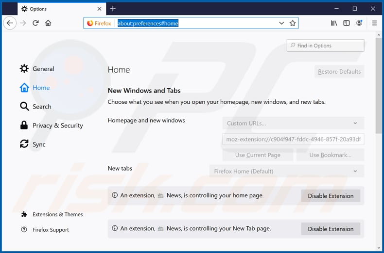 Removing search.getbreakingnewstabnet.com from Mozilla Firefox homepage