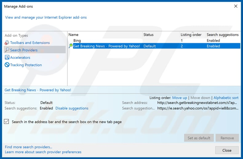 Removing search.getbreakingnewstabnet.com from Internet Explorer default search engine